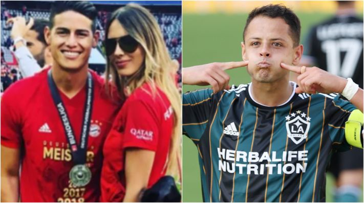James Rodríguez, Shannon de Lima y Chicharito Hernández (Foto: @shadelima y Getty)