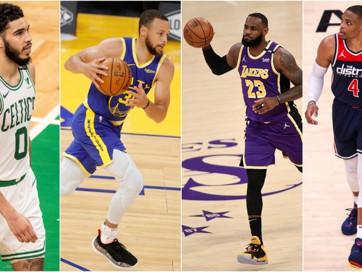 Jayson Tatum, Stephen Curry, LeBron James y Russell Westbrook